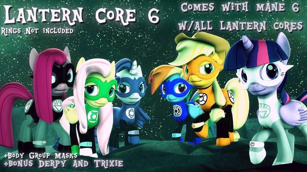 (DL) Lantern Mane 6 with Trixie and Derpy