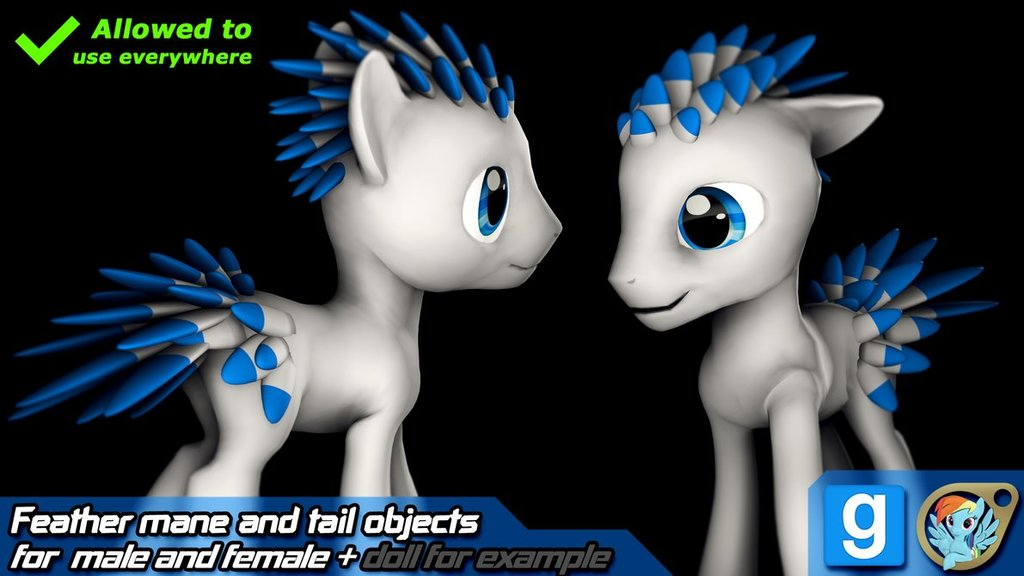 Feather mane and tail models